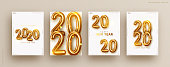 Happy New Year 2020. Golden metal number. Realistic 3d render sign. Luminous bright splash of gold bokeh light. Celebrate party 2020, Web Poster, banner. Set cover card, brochure, flyer, layout design