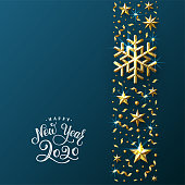 Christmas Background with Decorative Stripe made of Gold Stars, Snowflakes and Beads. Bright Christmas Greeting Card with handwritten lettering. Vector Illustration