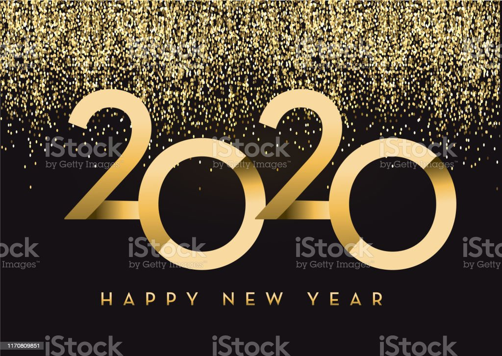 Happy New Year 2020 Greeting Card Banner Design In Gold And
