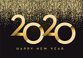 Vector illustration of a Happy New Year 2020 greeting card banner design in gold and glitter with text. Easy to edit with layers. Golden glitter colors.