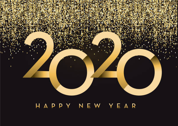 Happy New Year 2020 greeting card banner design in gold and glitter with text vector art illustration