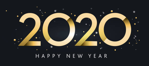 Happy New Year 2020 greeting card banner design in metallic gold with glitter vector art illustration