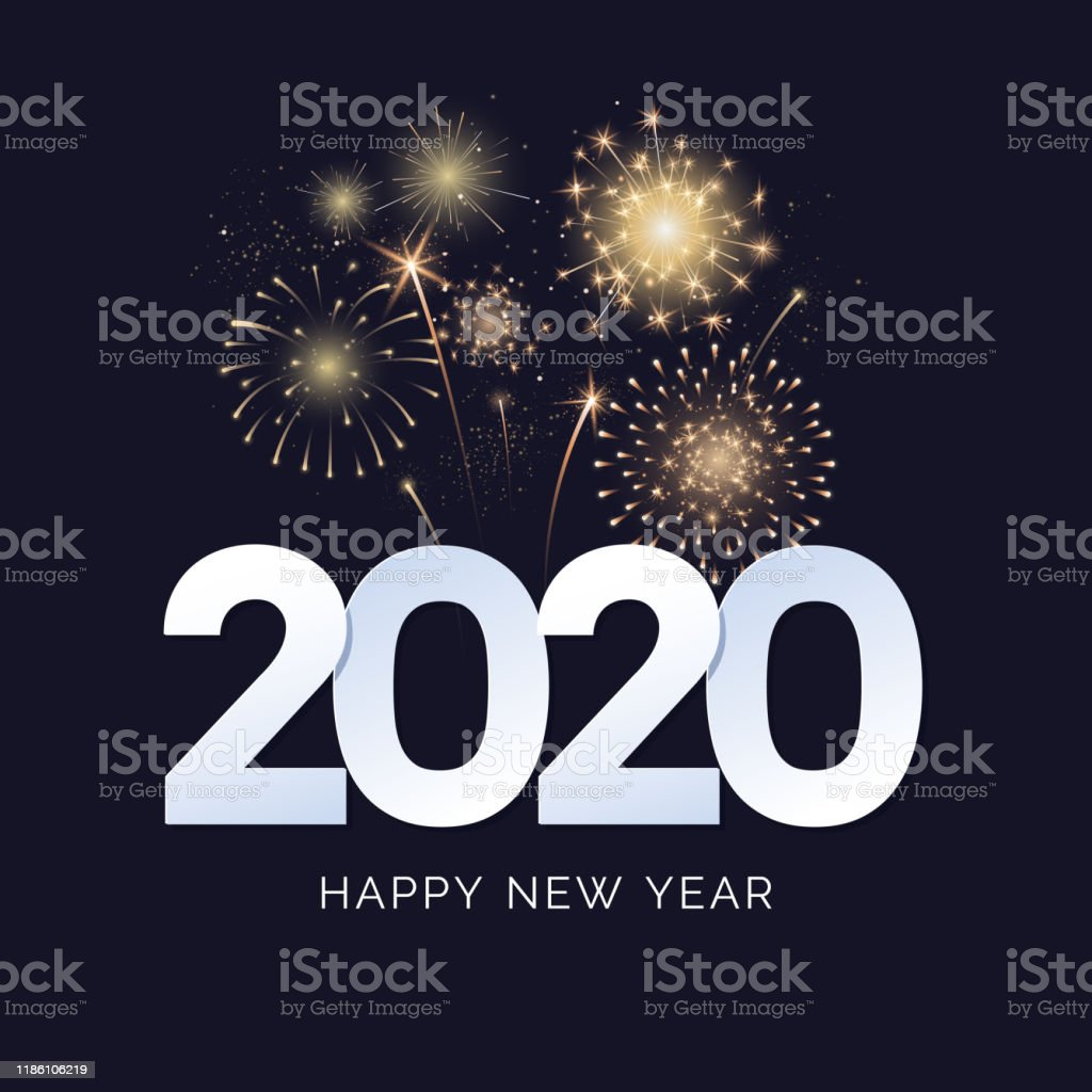 Happy New Year 2020 greeting card design. 2020 text with festive fireworks explosions isolated on dark background. Congratulation banner. Vector illustration. - Royalty-free 2020 arte vetorial