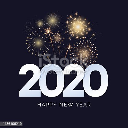 Happy New Year 2020 greeting card design. 2020 text with festive fireworks explosions isolated on dark background. Congratulation banner. Vector illustration.