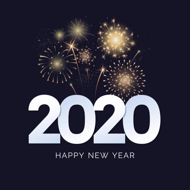 ilustraciones, imágenes clip art, dibujos animados e iconos de stock de feliz año nuevo 2020 diseño de tarjeta de felicitación. texto de 2020 con explosiones de fuegos artificiales festivos aisladas sobre fondo oscuro. bandera de felicitación. ilustración vectorial. - año nuevo