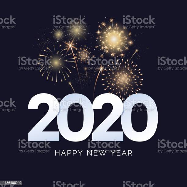 Happy New Year 2020 Greeting Card Design 2020 Text With Festive Fireworks Explosions Isolated On Dark Background Congratulation Banner Vector Illustration - Arte vetorial de stock e mais imagens de 2020