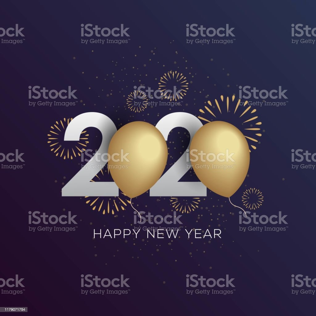 Happy New Year 2020 greeting card vector illustration - Royalty-free 2019 arte vetorial