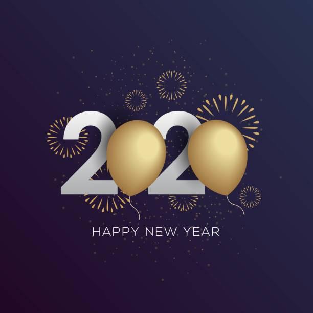 ilustraciones, imágenes clip art, dibujos animados e iconos de stock de feliz año nuevo 2020 ilustración vectorial de tarjeta de felicitación - víspera de año nuevo