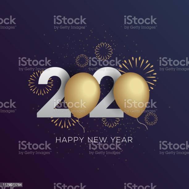 Happy New Year 2020 Greeting Card Vector Illustration - Arte vetorial de stock e mais imagens de 2019