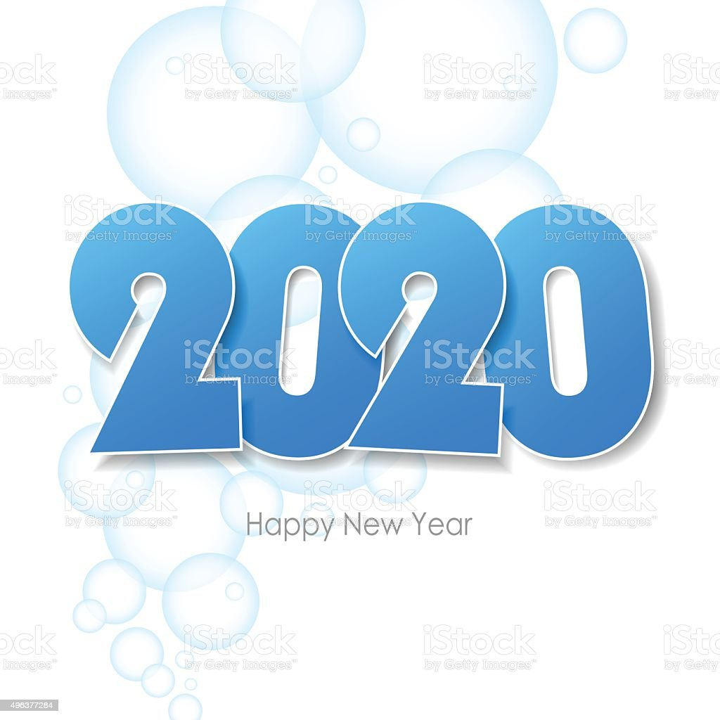 Happy New Year 2020 Greeting Card Water Bubbles Background Stock