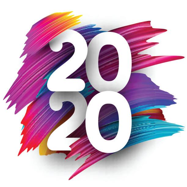Frohes neues Jahr 2020 Grußkarte mit Farbverlauf Pinselstrich. – Vektorgrafik