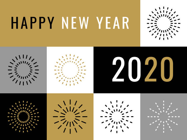 happy new year 2020 greeting card with fireworks vector art illustration