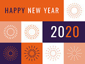happy new year 2020 flat design template. You can edit the colors or sizes easily if you have Adobe Illustrator or other vector software. All shapes are vector, eps. 10.