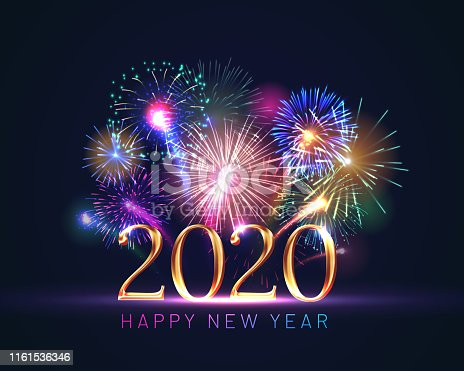 Happy new year greeting card with 2020 golden numbers and fireworks series. Celebratory template with realistic dazzling display of fireworks decoration on dark blue background vector illustration.