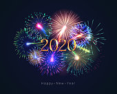 Happy new year 2020 congratulation with fireworks series. Celebratory template with realistic dazzling display of fireworks on dark background vector illustration. Winter holiday festival show
