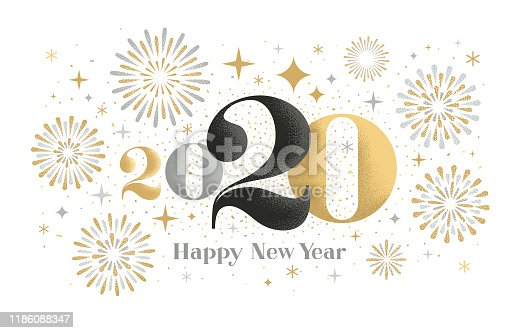 istock Happy New year 2020 greeting card with fireworks 1186088347
