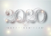 Happy New Year 2020 Greeting Card with Silver Numbers and Confetti Frame on White Background. Vector Illustration. Merry Christmas Flyer or Poster Design. Vector 10 EPS