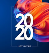 Vector illustration: Happy New Year 2020. Greeting poster with colorful abstract fluid shape. Trendy design