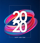 Vector illustration: Happy New Year 2020. Greeting poster with colorful abstract twisted paint shape. Trendy design