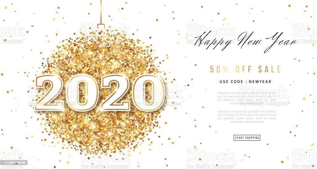 Golden Vector luxury text 2020 Happy new year. Gold Festive Numbers Design,  diamonds texture. Gold shining glitter confetti. Happy New Year Banner ...