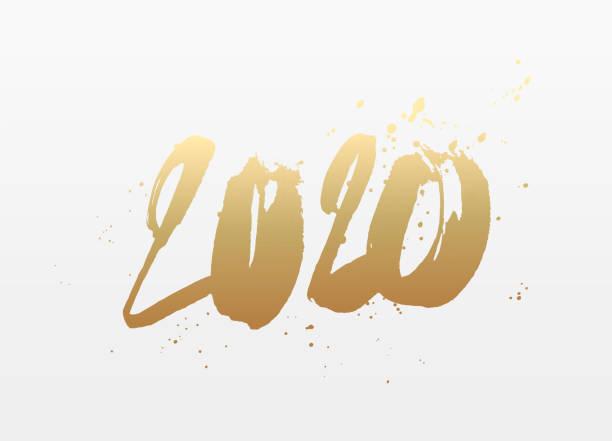 Frohes neues Jahr 2020. Handgezogene Zahlen. – Vektorgrafik