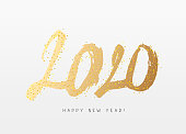 Happy new year 2020. Hand-drawn numbers. Vector illustration on white background. Great holiday gift card. Lettering. Brush Font.