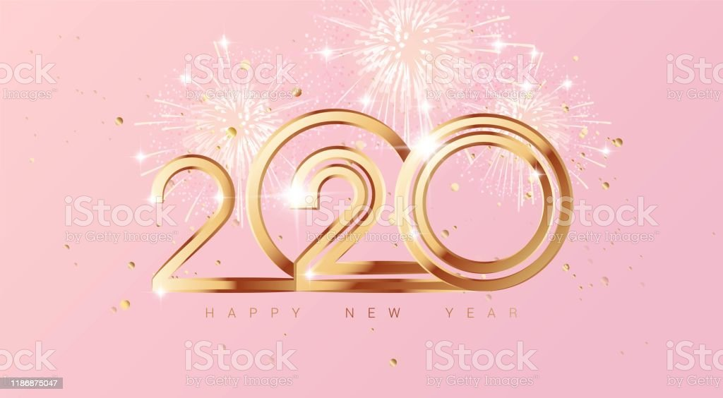 Happy new year 2020 holiday background with 3d numbers 2020,...
