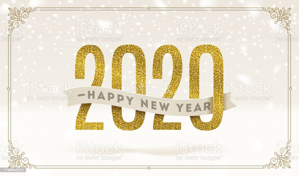 Happy New Year 2020 - holidays vector illustration. Glitter gold numbers and ribbon with greeting on a snow background. - Royalty-free 2020 arte vetorial