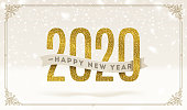 Happy New Year 2020 - holidays vector illustration. Glitter gold numbers and ribbon with greeting on a snow background.