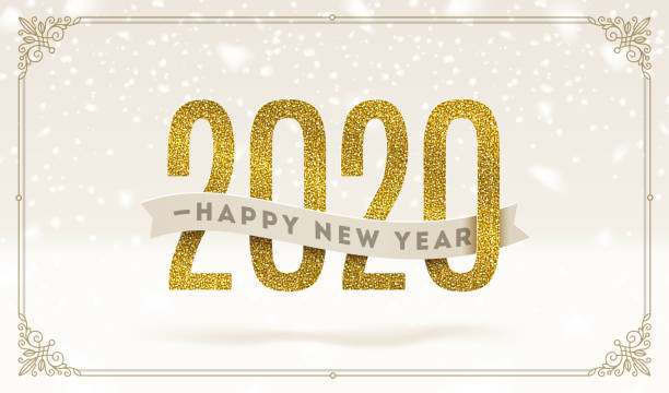 Happy New Year 2020 - holidays vector illustration. Glitter gold numbers and ribbon with greeting on a snow background. Happy New Year 2020 - holidays vector illustration. Glitter gold numbers and ribbon with greeting on a snow background. 2020 stock illustrations