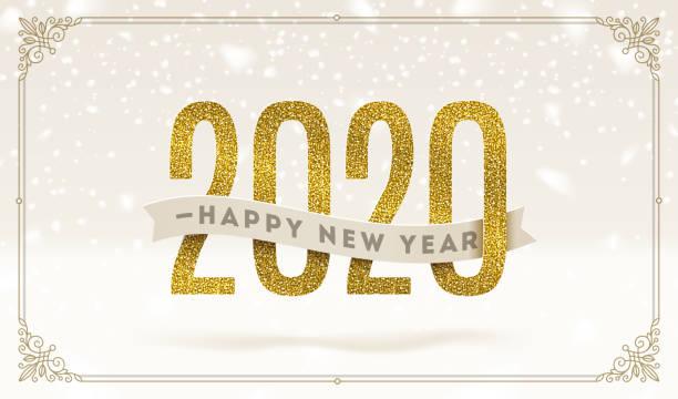 ilustraciones, imágenes clip art, dibujos animados e iconos de stock de feliz año nuevo 2020 - ilustración vectorial de vacaciones. brillante números de oro y cinta con saludo sobre un fondo de nieve. - víspera de año nuevo