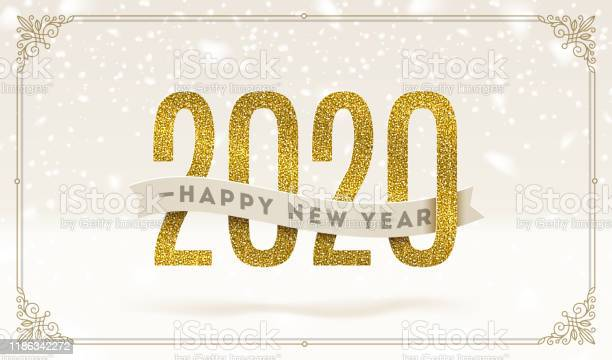 Happy New Year 2020 Holidays Vector Illustration Glitter Gold Numbers And Ribbon With Greeting On A Snow Background - Arte vetorial de stock e mais imagens de 2020
