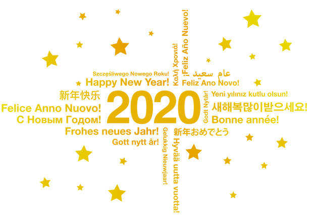 illustrazioni stock, clip art, cartoni animati e icone di tendenza di happy new year 2020 in different languages - spagnolo lingua