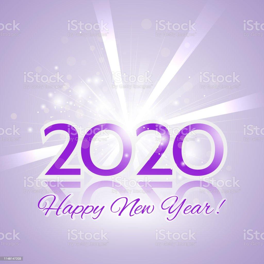 Ilustración De Feliz Año Nuevo 2020 Tarjeta De Invitación Y