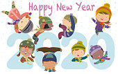 Vector Happy new year 2020 Kids Funny