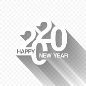 Modern Happy New Year 2020 lettering background for your Christmas. EPS 10 vector illustration, contains transparencies. High resolution jpeg file included.