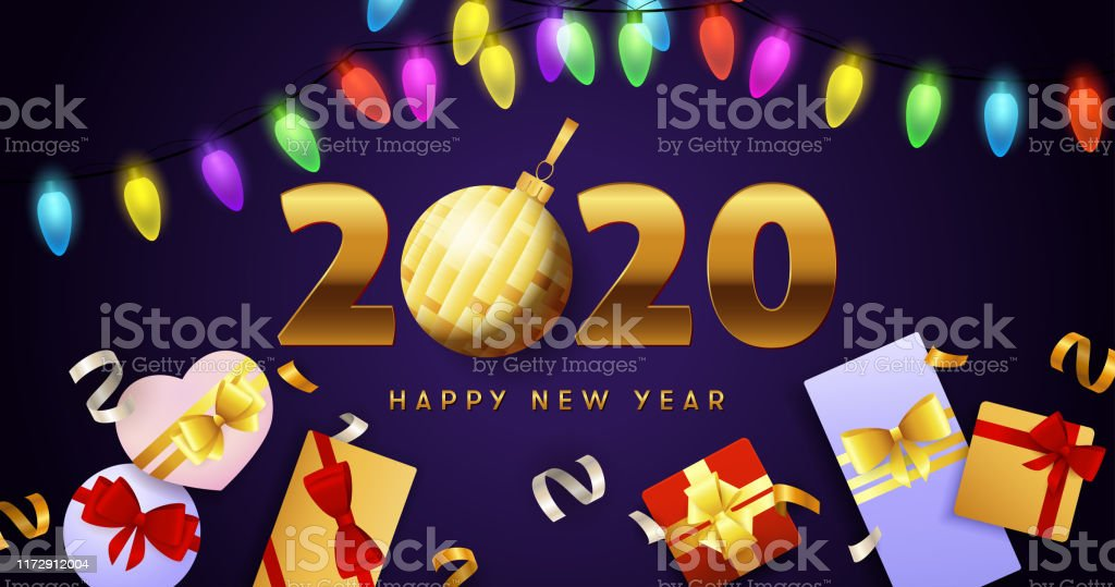 Happy New Year 2020 Lettering Lights Garlands And Gift Boxes