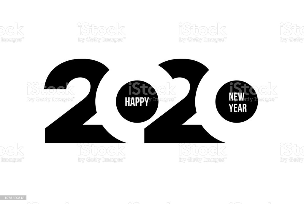 Happy New Year 2020 logo text design. Cover of business diary for 2020 with wishes. Brochure design template, card, banner. Vector illustration. Isolated on white background. - Royalty-free 2020 arte vetorial