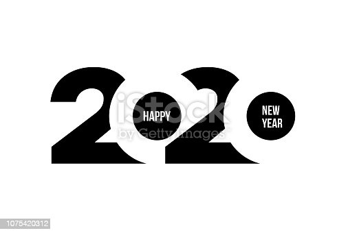 istock Happy New Year 2020 logo text design. Cover of business diary for 2020 with wishes. Brochure design template, card, banner. Vector illustration. Isolated on white background. 1075420312