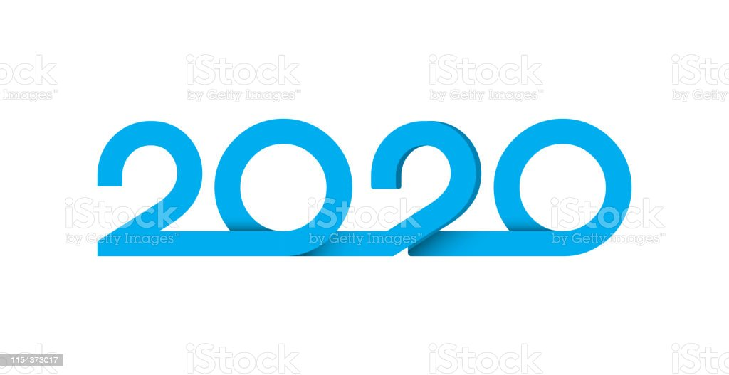 2020 letters paper cut logo blue text design. Cover of business diary...