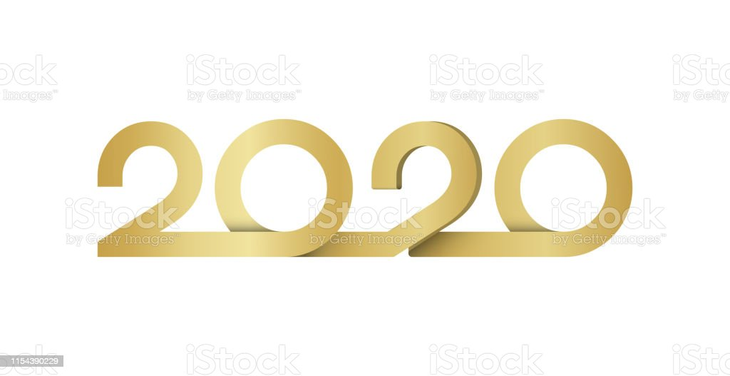 New Year 2020 lettering gold ribbon text design. Brochure design...