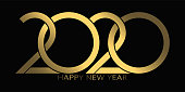 2020 Happy New Year. 2020 luxury text vector design gold color.