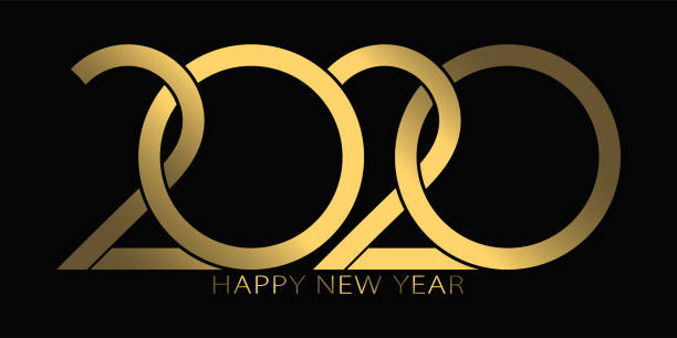 2020 happy new year. 2020 luxury text vector design gold color. - new years day stock illustrations