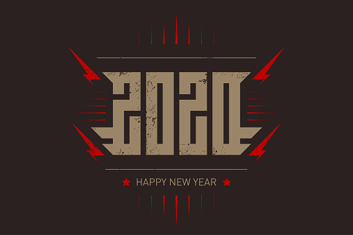 Happy New Year 2020 - music poster with stylized inscription, red lightnings and star. T-shirt apparels cool print with inscription. 20 20 - t-shirt design. Vector.