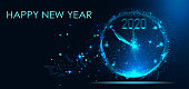 Happy New Year 2020. New Year Shining background with clock and glitter. Triangles and particle style design. Polygon vector wireframe concept. Headline