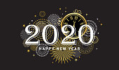 Happy New Year 2020 - New Year Shining background with gold clock and glitter. vector illustration