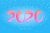 Happy New Year 2020 of colorful hand drawn brushstroke oil or acrylic paint lettering calligraphy design element with snow. Vector illustration on blue background