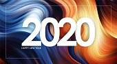 Vector illustration: Happy New Year 2020 on colorful flow background Trendy design