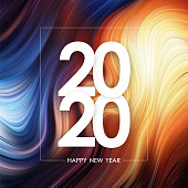 Vector illustration: Happy New Year 2020 on colorful flow poster background. Trendy design