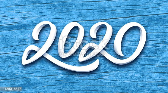 Happy New Year 2020 vector greeting card